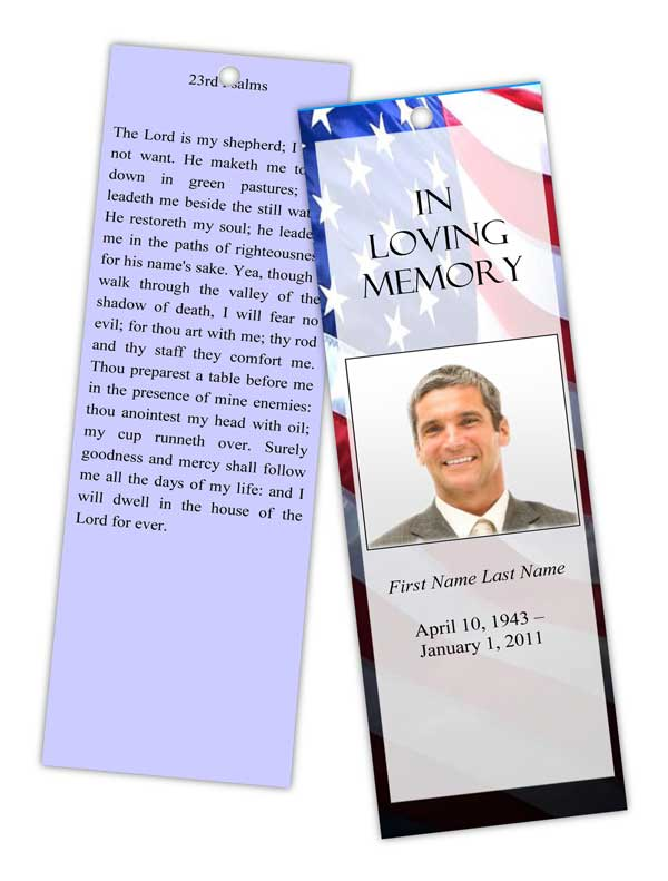 Memorial Bookmarks. Patriotic Bookmark Template  Memorial Card Template Word