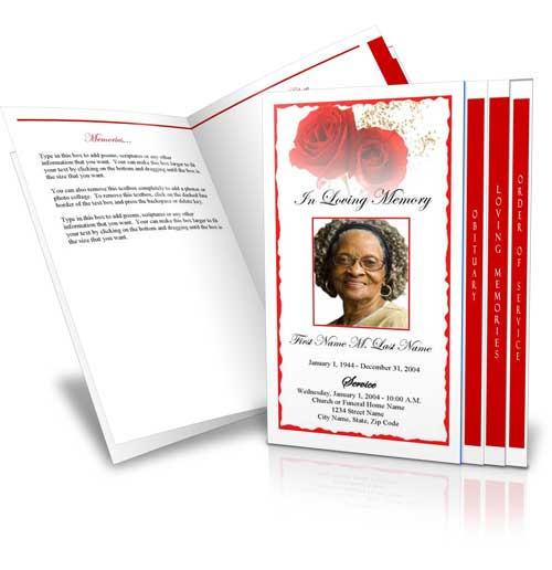 4 Page Graduated Red Rose  Free Obituary Program Template