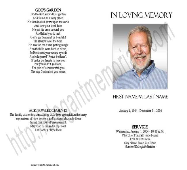 Blank Funeral Program Template – Free Printable Obituary Program Template