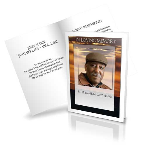 brown sunset funeral card