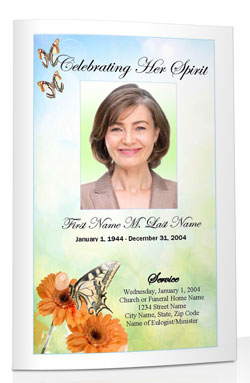 butterfly funeral program template