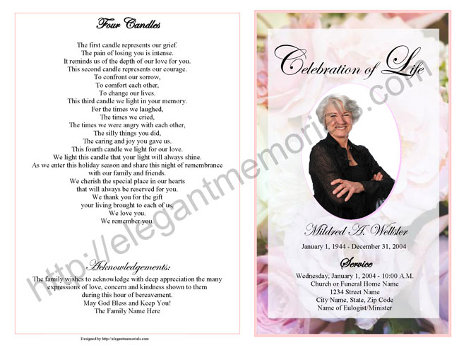 Pink Roses Funeral Programs Templates  VisualbrainsInfo