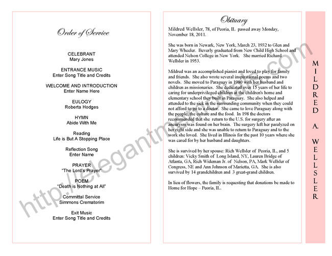 celebration of life service program sample