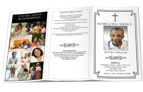 Christian Funeral Programs  Sample Funeral Program  Christian