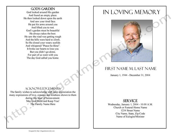 Memorial Card Template Display Bifold Plain Template Funeral