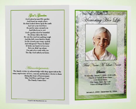 Funeral Program Template    Spring Garden  Program For A Funeral
