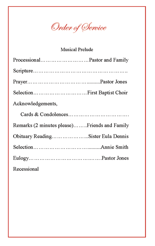 Funeral Memorial Order Of Service  Burial Ceremony Program