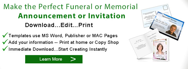 Elegant Memorials  Funeral Announcement Sample