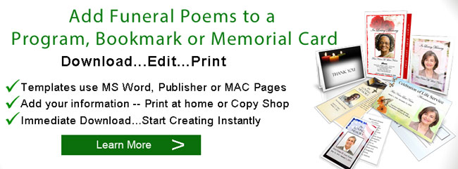 funeral poems programs banner