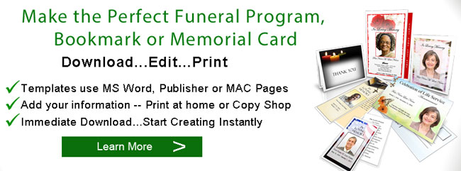 funeral program bookmark banner