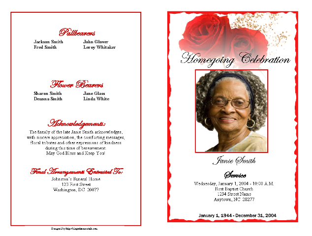 Funeral Program Example Outer Cover  Funeral Announcement Sample