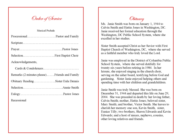 how to write a memorial service program Elements of a sample funeral program how do i write a funeral program examples of funeral resolutions sample of funeral announcements memorial service ideas.