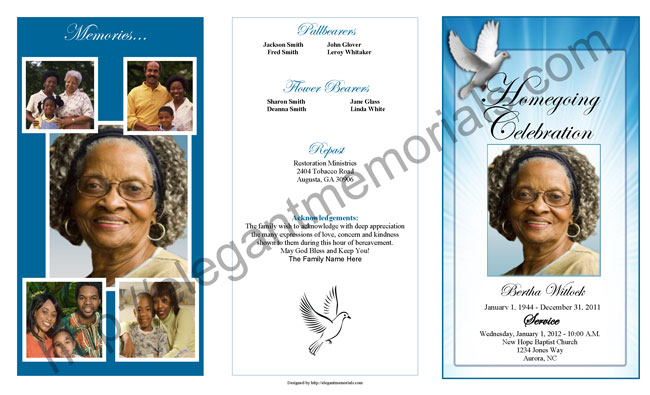 Funeral Program Template Sample Outer Cover. Funeral Program Example Page 1