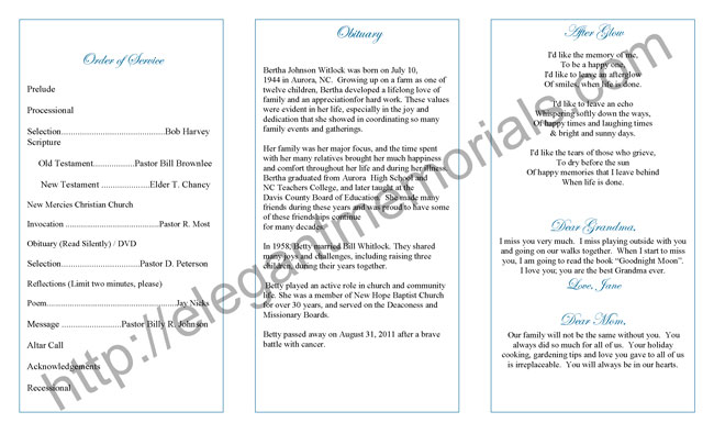 Funeral Program Example  Sample Funeral Programs