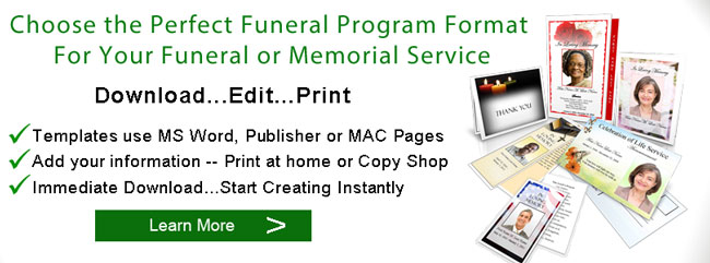 Funeral Program Format  Memorial Booklet Formats