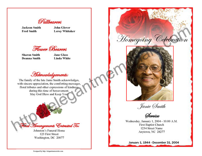 funeral program example page 1