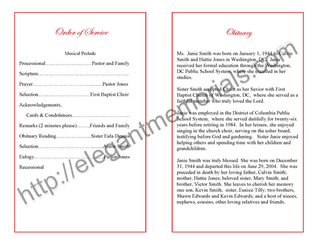Funeral Program Sample | Example of Memorial Programs