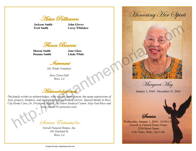 graduated fold funeral program sample page 1