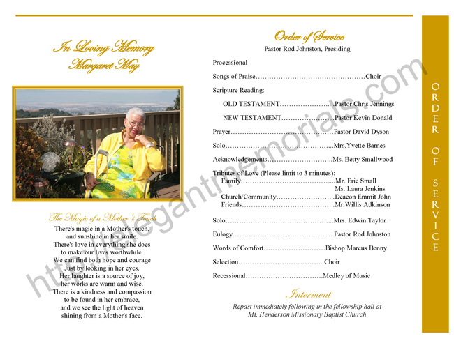 graduated fold funeral program page 2