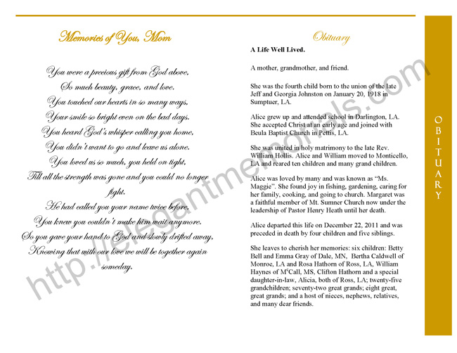 Graduated Fold Funeral Program Sample Page 2