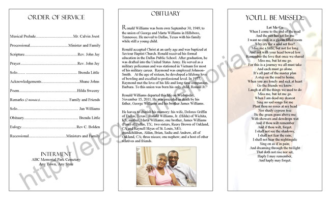 Homegoing Service Program Sample Example Of Programs For