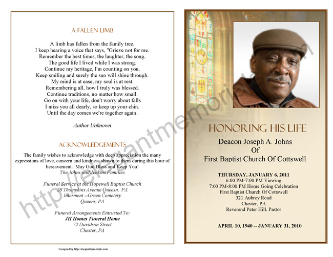Obituary Program Sample Obituary Template – Sample of Funeral Programs