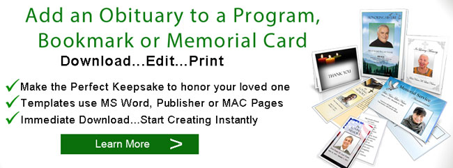 Sample Obituaries  Obituary Samples  Obituary Programs Template