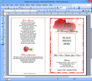 Funeral Program Template Microsoft Publisher Memorial MS Publisher