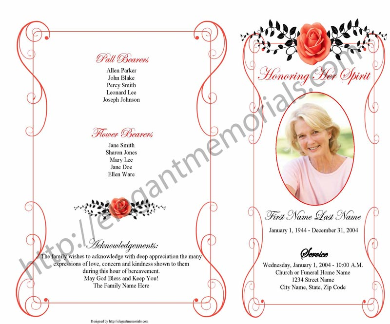 step fold 4 page vintage rose red template Page 1