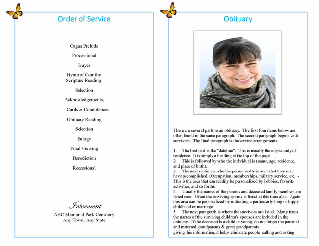 sample funeral booklet page 2