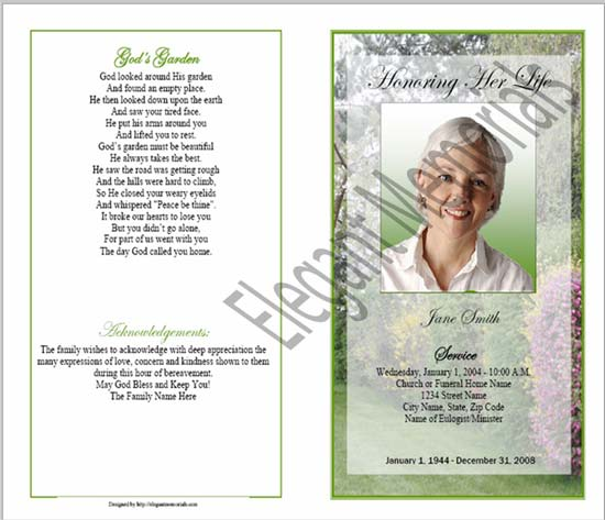 Sample Funeral Program Outer Cover