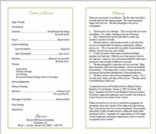 Elegant Sample Funeral Program Inner Page For Burial Ceremony Program