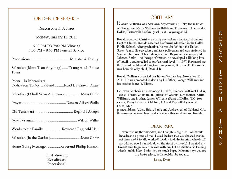 obituary program sample