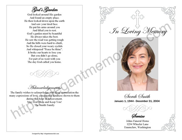 Memorial service program sample funeral programs for Funeral handouts template