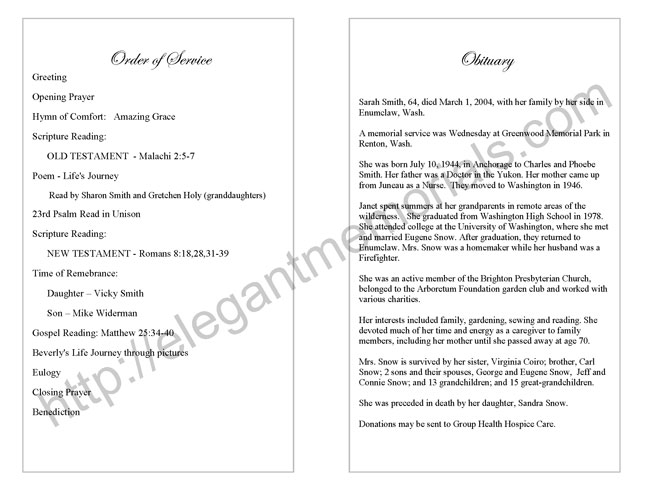 Memorial Service Program Sample Funeral Programs – Memorial Service Template Word