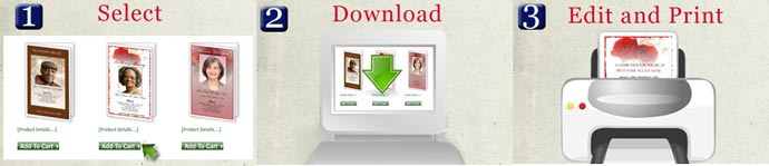 4 page graduated fold funeral program templates