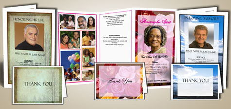 Funeral Program Templates and Thank You Acknowlegement Cards