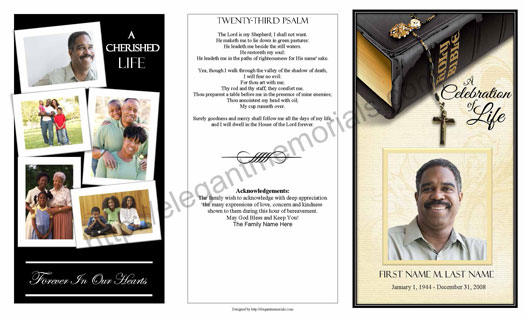 Trifold Bible Memories Template Page 1a  Free Memorial Program Templates