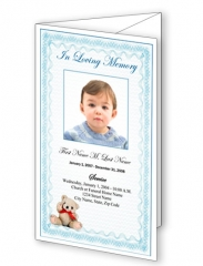 Blue Teddy Bear Trifold Funeral Program