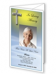 Blue Eternal Trifold Funeral Program Template