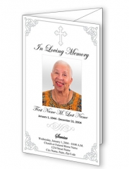 Grey Classic Cross Trifold Funeral Program Template