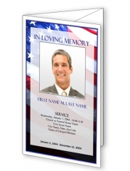 Patriotic US Trifold Funeral Program Template