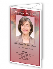 Roses of Life Trifold Funeral Program Template