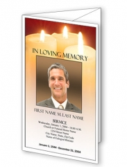 Sacred Candles Trifold Funeral Program Template